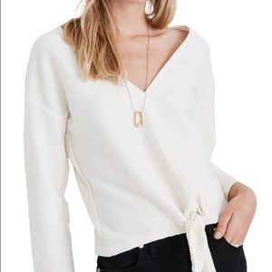 Madewell Texture & Thread Ivory Tie Front Top